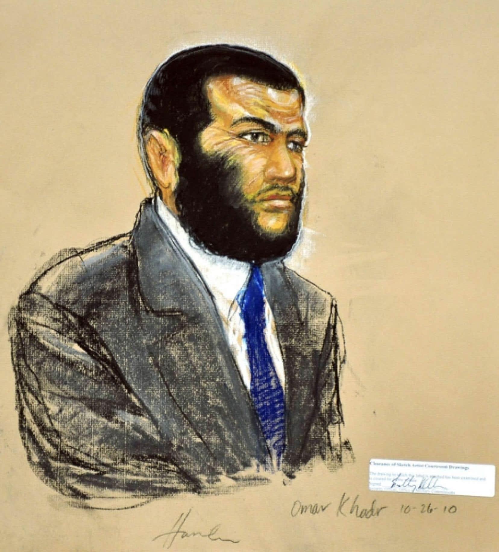 Omar Khadr, lors de son procès mardi à la base militaire américaine de Guantánamo.<br />