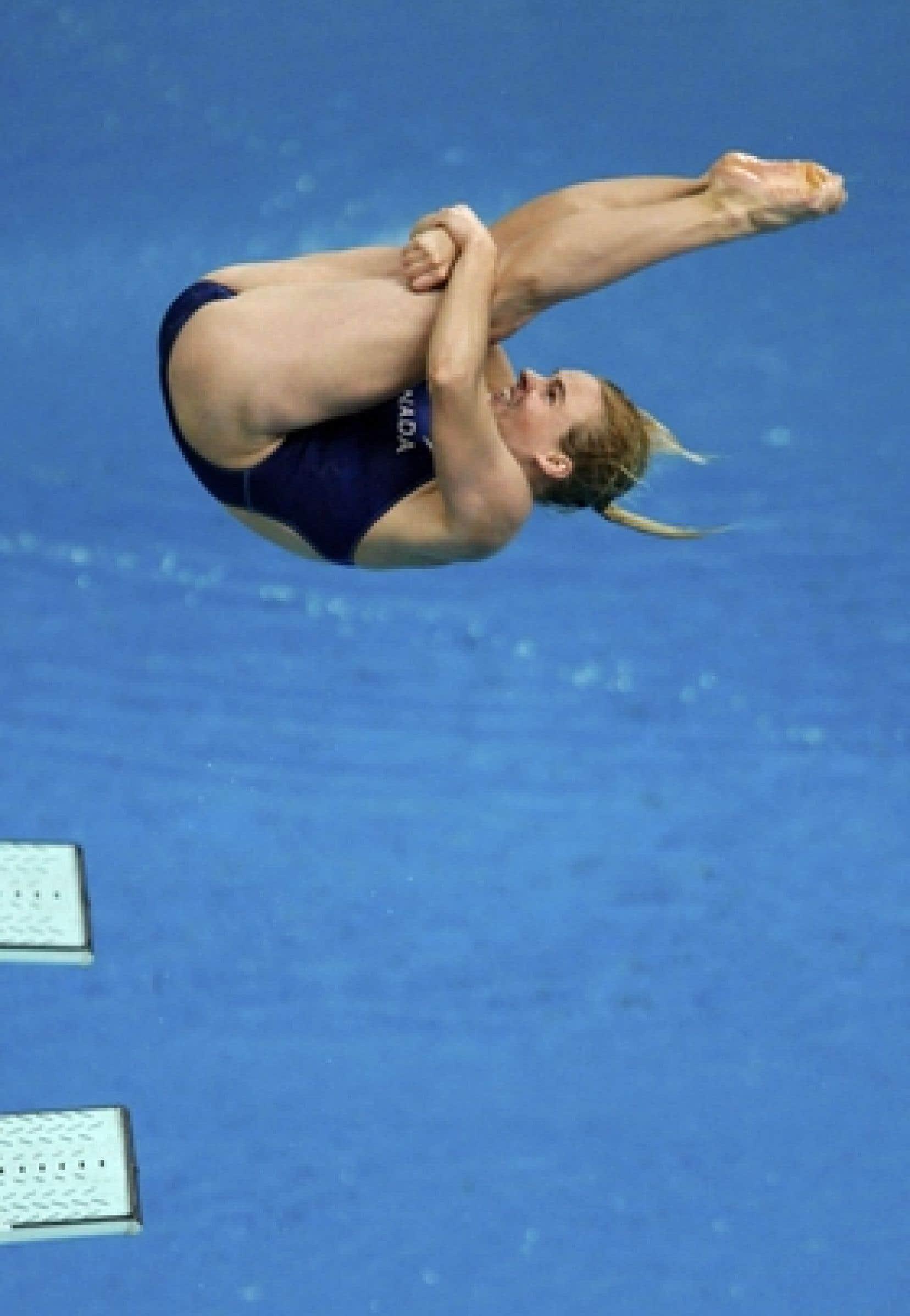 Blythe Hartley lors de la finale au tremplin de 3 m au Centre national aquatique. Elle a terminé au 4e rang. Il s'agissait de sa dernière compétition.