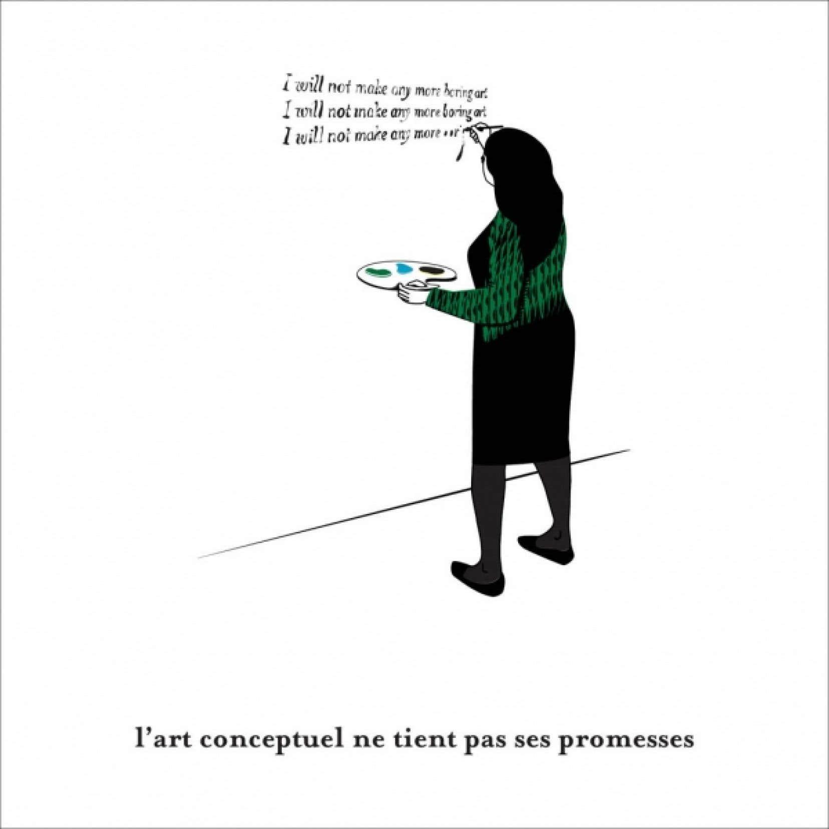 Deux vignettes de la série Le Livre noir de l'art conceptuel, de Clément de Gaulejac, vignettes qui évoquent des jalons de l'histoire de l'art conceptuel.