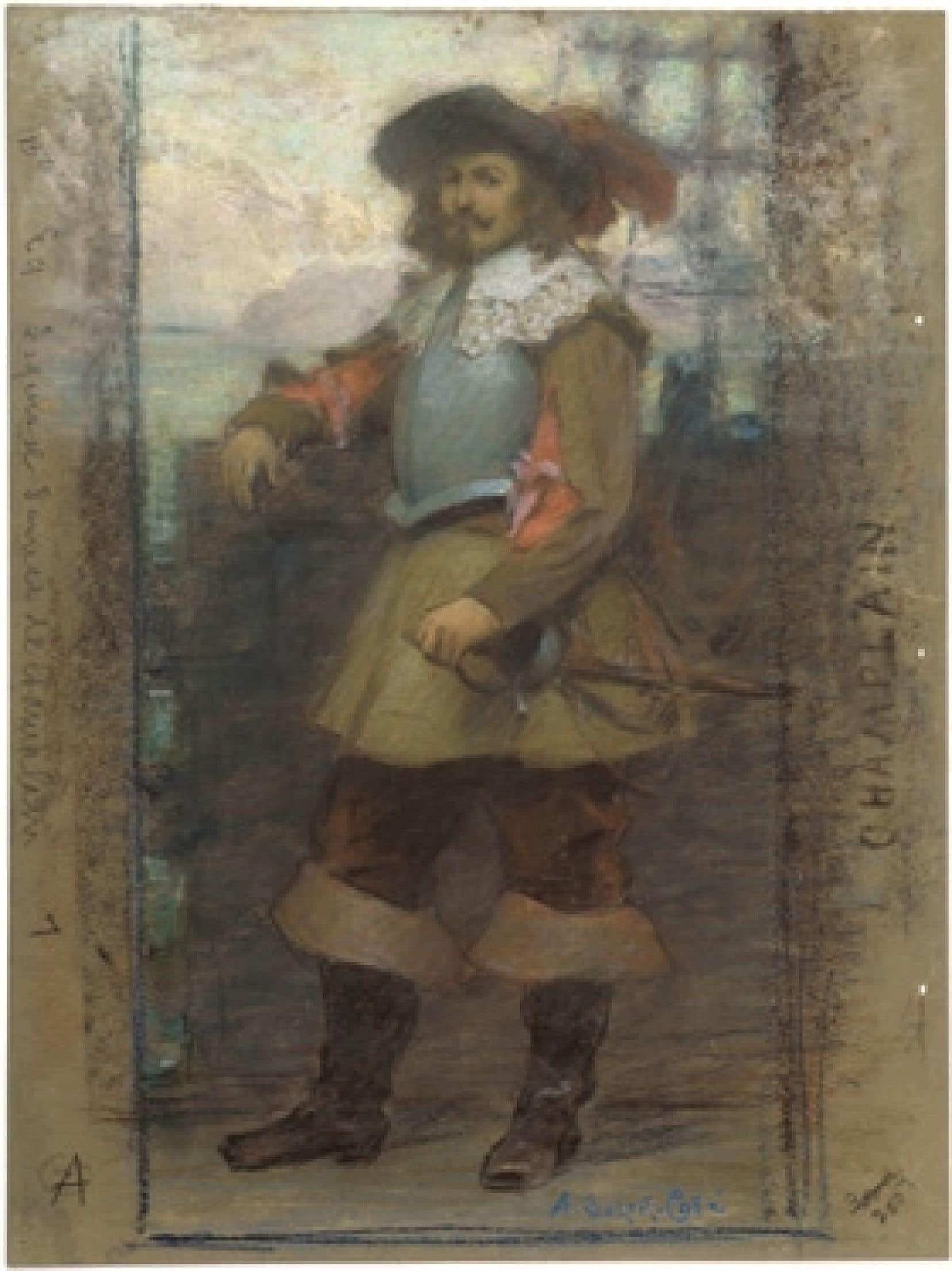 Samuel de Champlain vu par Suzor Côté (détail).