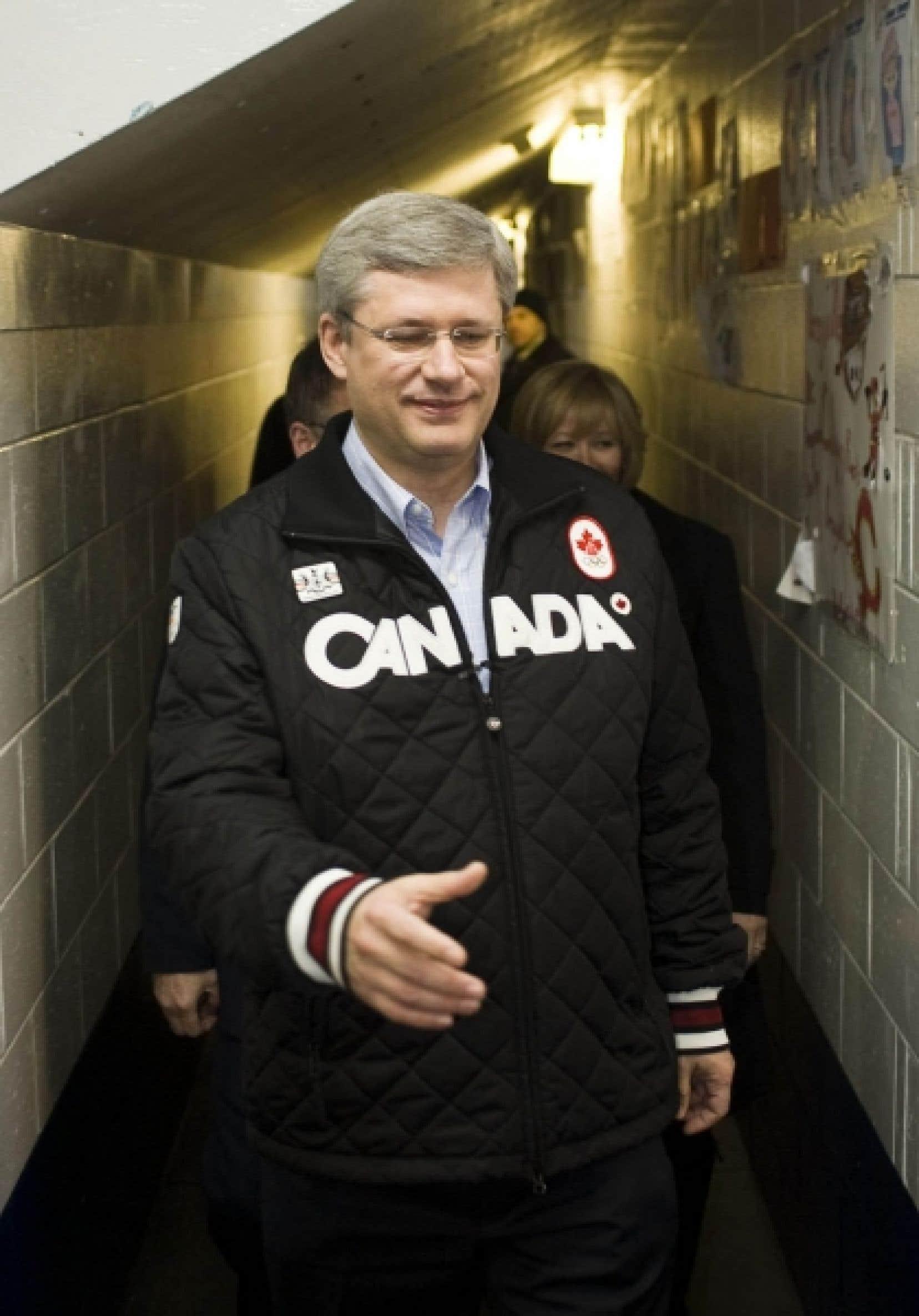 Stephen Harper en campagne cette semaine, à Terre-Neuve.<br />