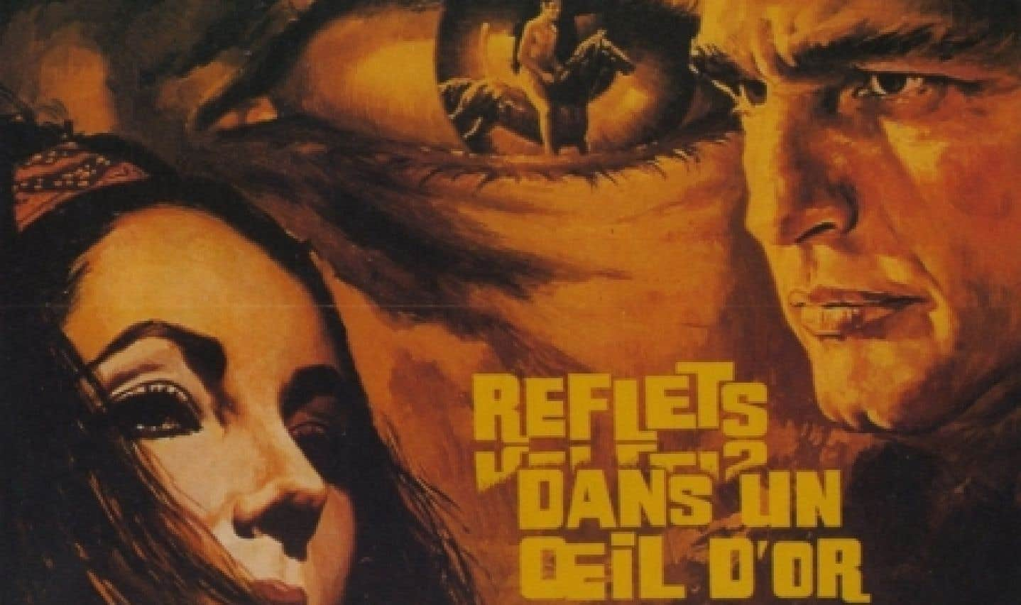 L'affiche française du film Reflections in a Golden Eye, de John Huston d'après le roman de Carson McCullers.