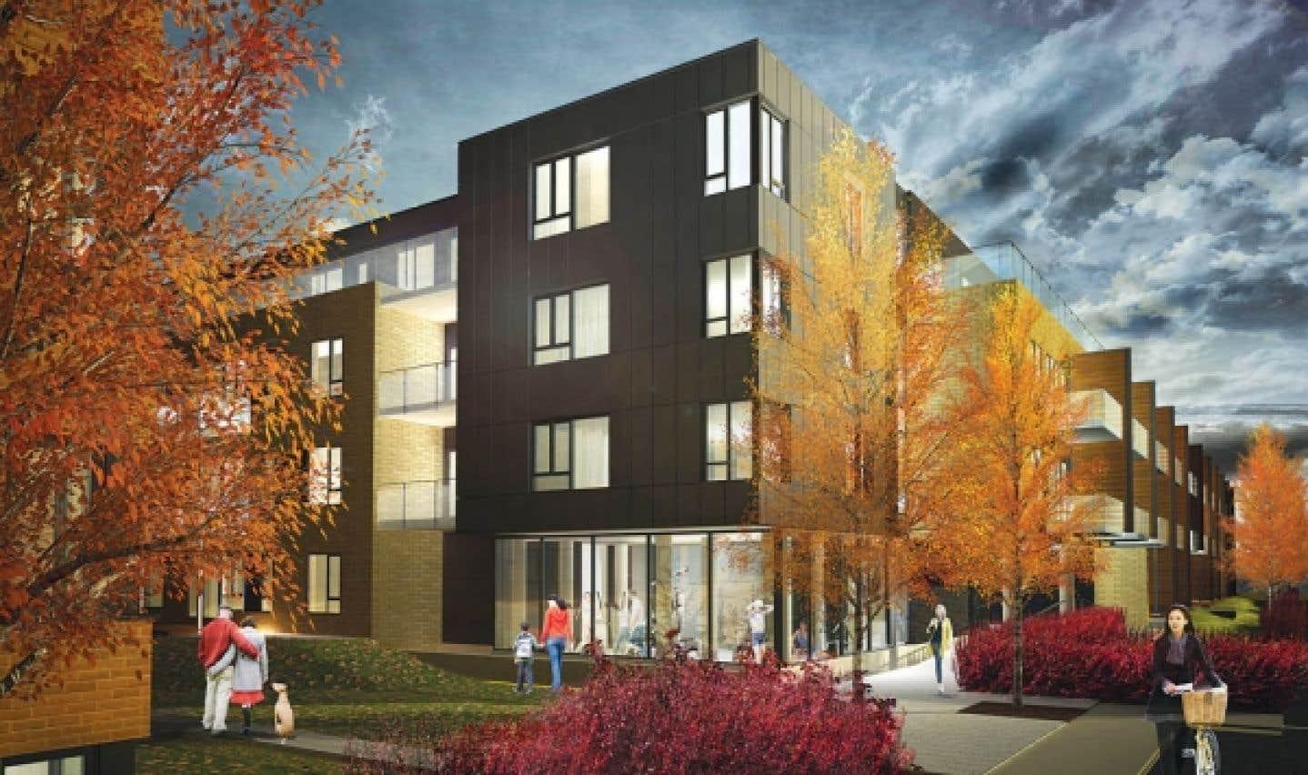 Les lofts au rez-de-chaussée et au quatrième étage auront une grande terrasse de bois. Les autres auront un balcon.