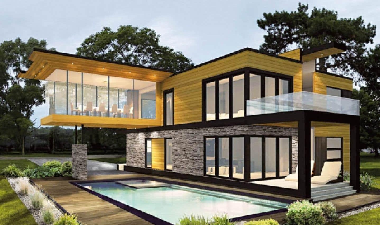Le clou du Salon est la maison assemblée en dix jours seulement. Il s'agit cette année d'une maison modulaire aux allures scandinaves, proposée par Marquis Concept.