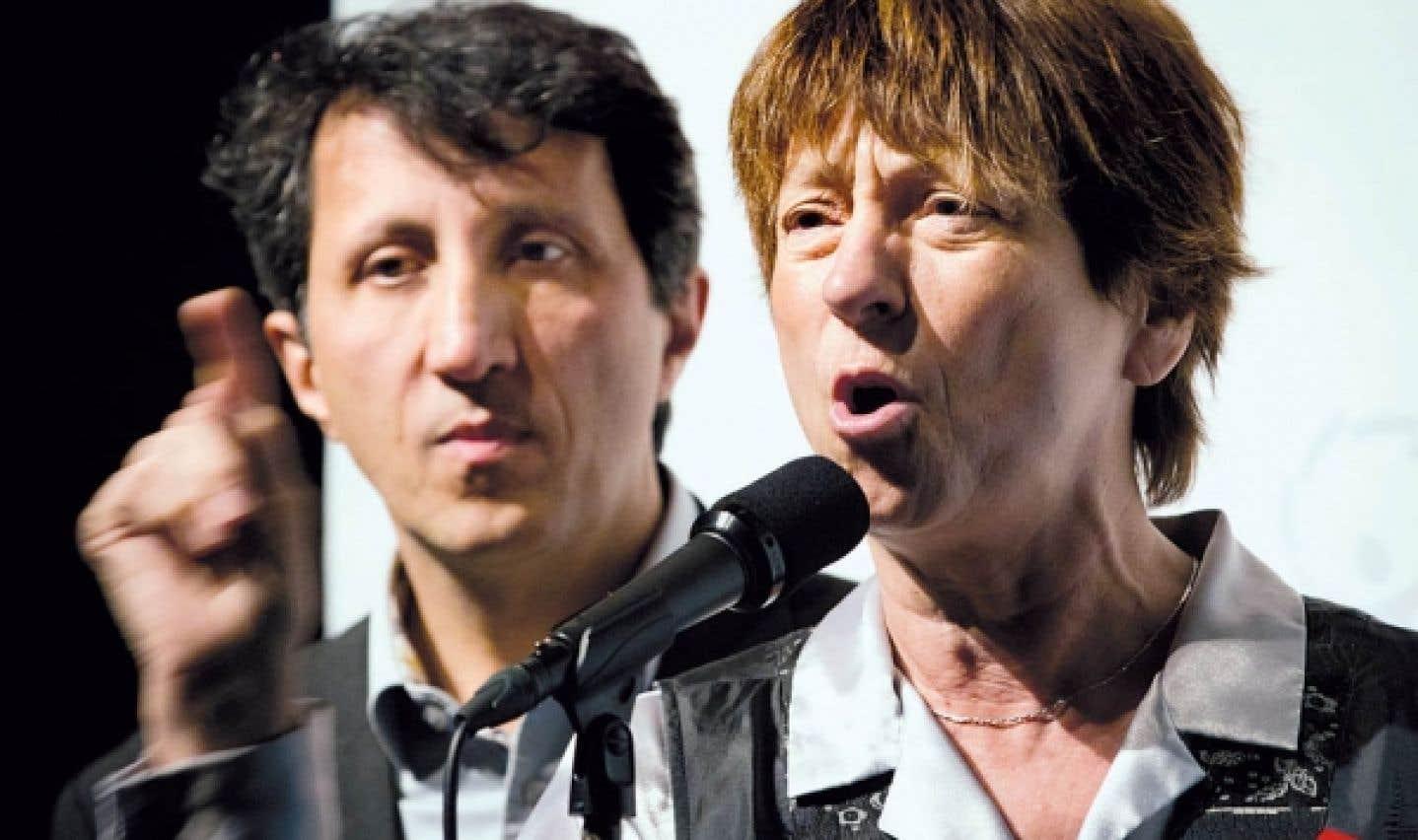 Françoise David, co-porte-parole de Québec solidaire avec Amir Khadir, propose d'instaurer progressivement la « gratuité scolaire ».
