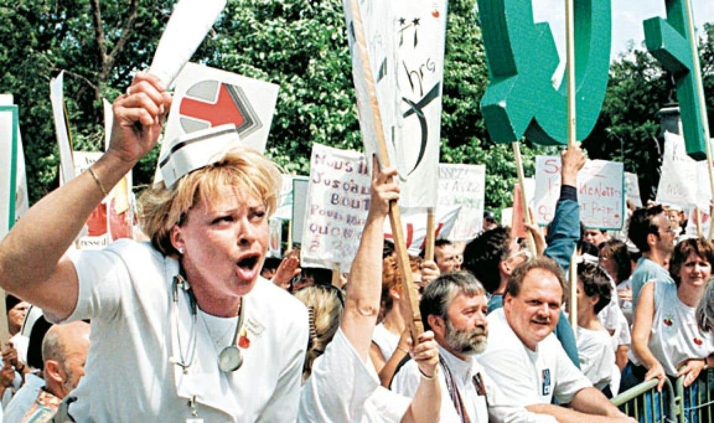 La grève des syndiqués de la Fédération indépendante des infirmières et infirmiers du Québec.