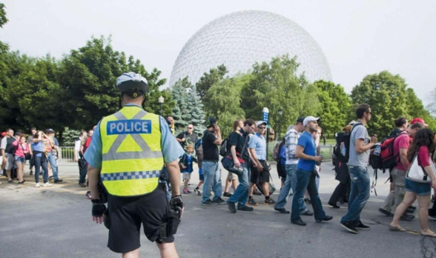 Les manifestants restent loin du parc Jean-Drapeau