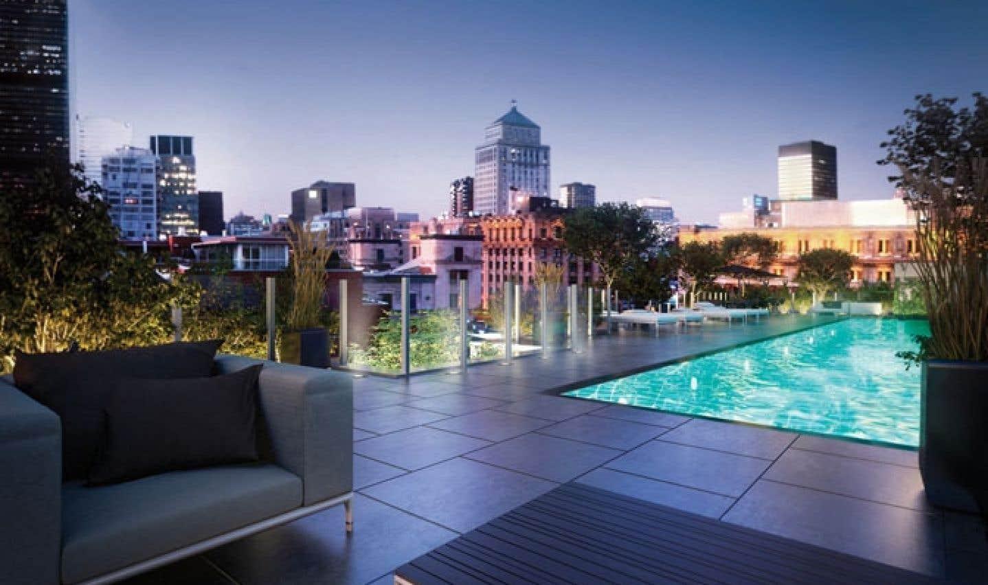 Les résidants du Sax Vieux-Montréal pourront se réunir sur le toit de l'immeuble autour de la piscine extérieure.