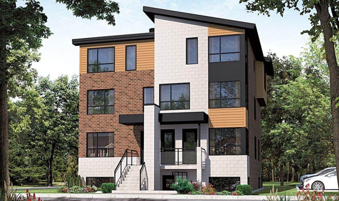 L'offre dans l'écoquartier du Faubourg Cousineau est diverse et comprend autant des maisons unifamiliales que des condos répartis dans des immeubles à cinq logements, comme celui-ci par exemple.