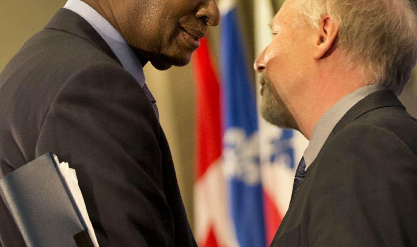 En septembre dernier, Adbou Diouf avait énoncé un plaidoyer en faveur de la diversité culturelle au sein de la Francophonie devant le Conseil des relations internationales de Montréal (CORIM). Le voici en compagnie du ministre québécois des Relations internationales, de la Francophonie et du Commerce extérieur, Jean-François Lisée.