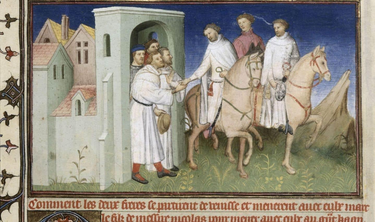 Image tirée du Livre des merveilles montrant Marco Polo à 17 ans, chevauchant entre son père et son oncle, lors du grand départ de Venise. On peut l'apercevoir à l'expositionMarco Polo – Le fabuleux voyage, au musée Pointe-à-Callière.