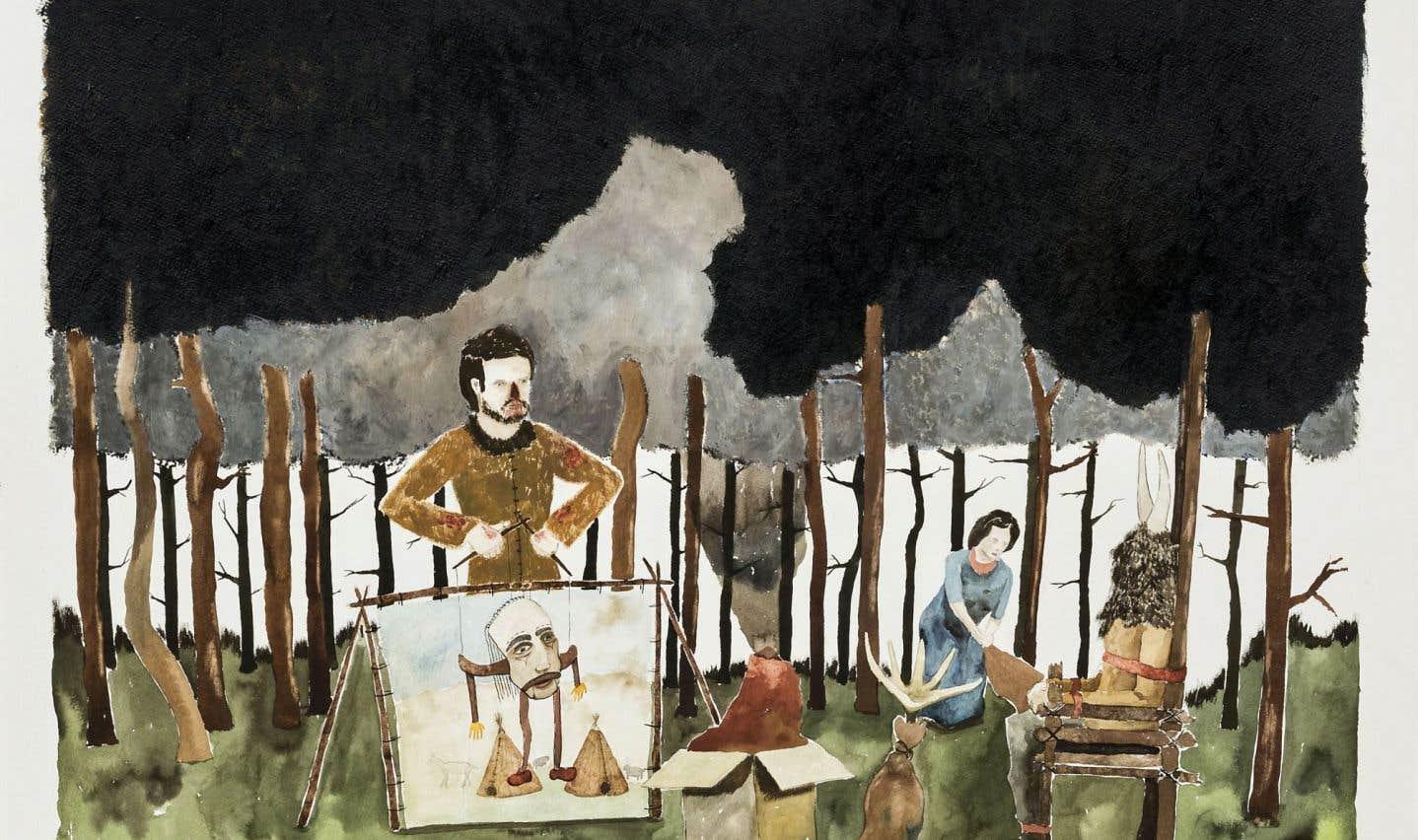«Un bon galeriste aide les artistes dans le développement de leur carrière, explique Rhéal Lanthier, commissaire et codirecteur de la galerie Art Mûr. Nous sommes des accompagnateurs.» Ci-dessus, une œuvre de Joseph Tisiga, intitulée Consequence for the poorly timed (2014).