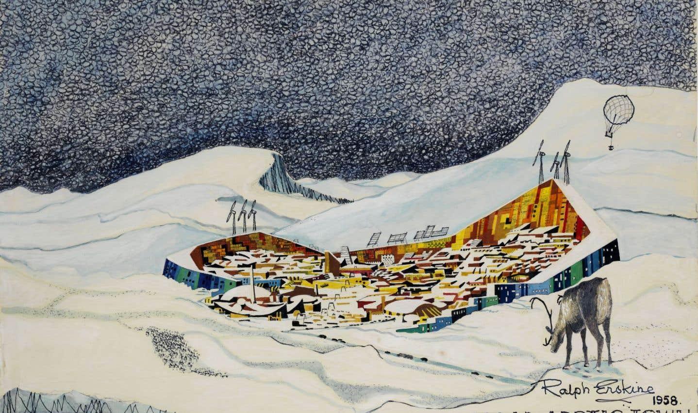 Croquis d'une ville fortifiée prototype en Arctique, développée plus tard pour la ville de Resolute Bay dans les Territoires du Nord-Ouest (maintenant le Nunavut)