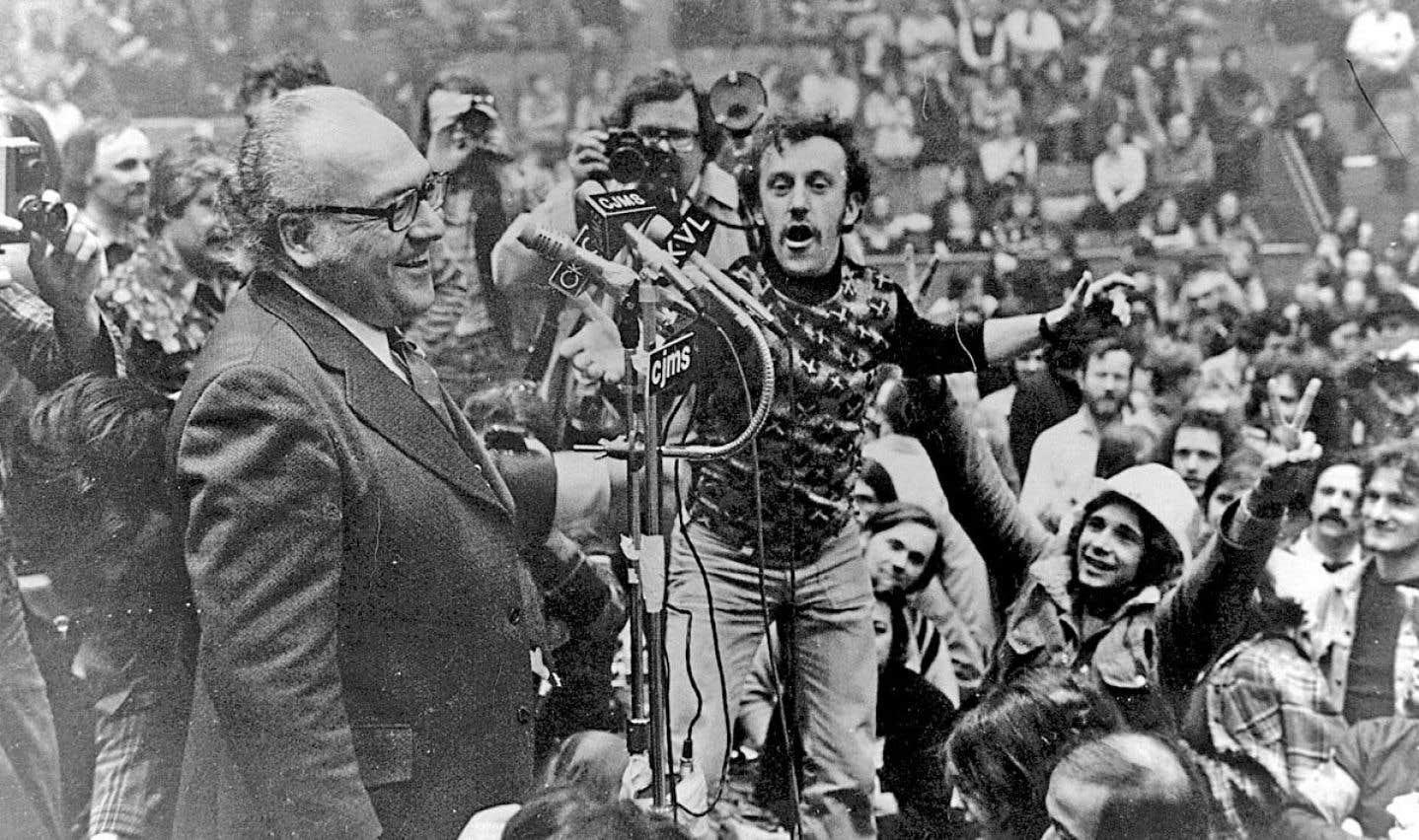 Louis Laberge, lors de la grève en appui aux grévistes de la United Aircraft, en 1974