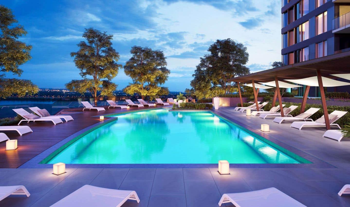 En plus de la piscine intérieur, EvoloX proposera à ses résidents une piscine extérieure.