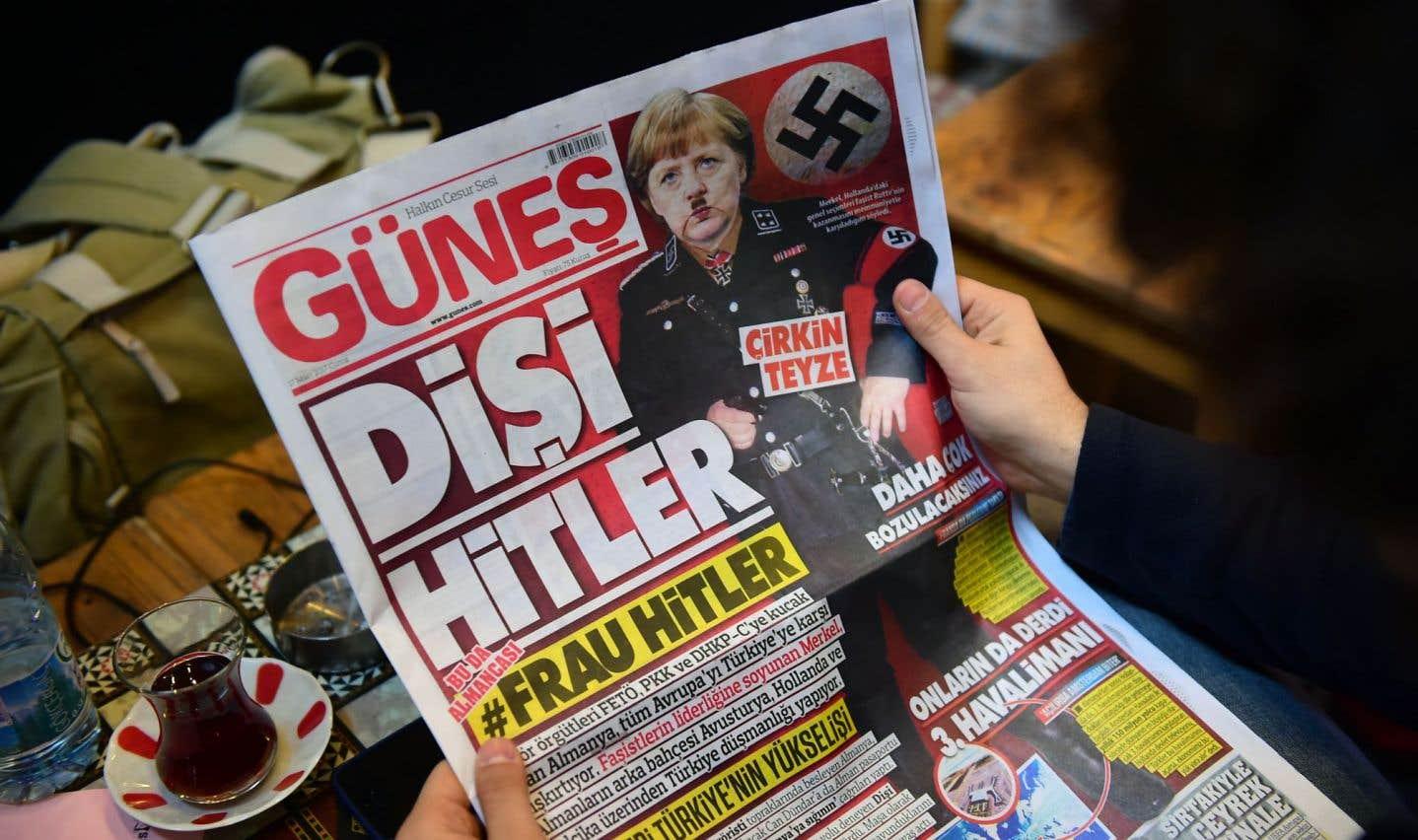 Un photomontage de Merkel en Hitler en Une d'un quotidien turc