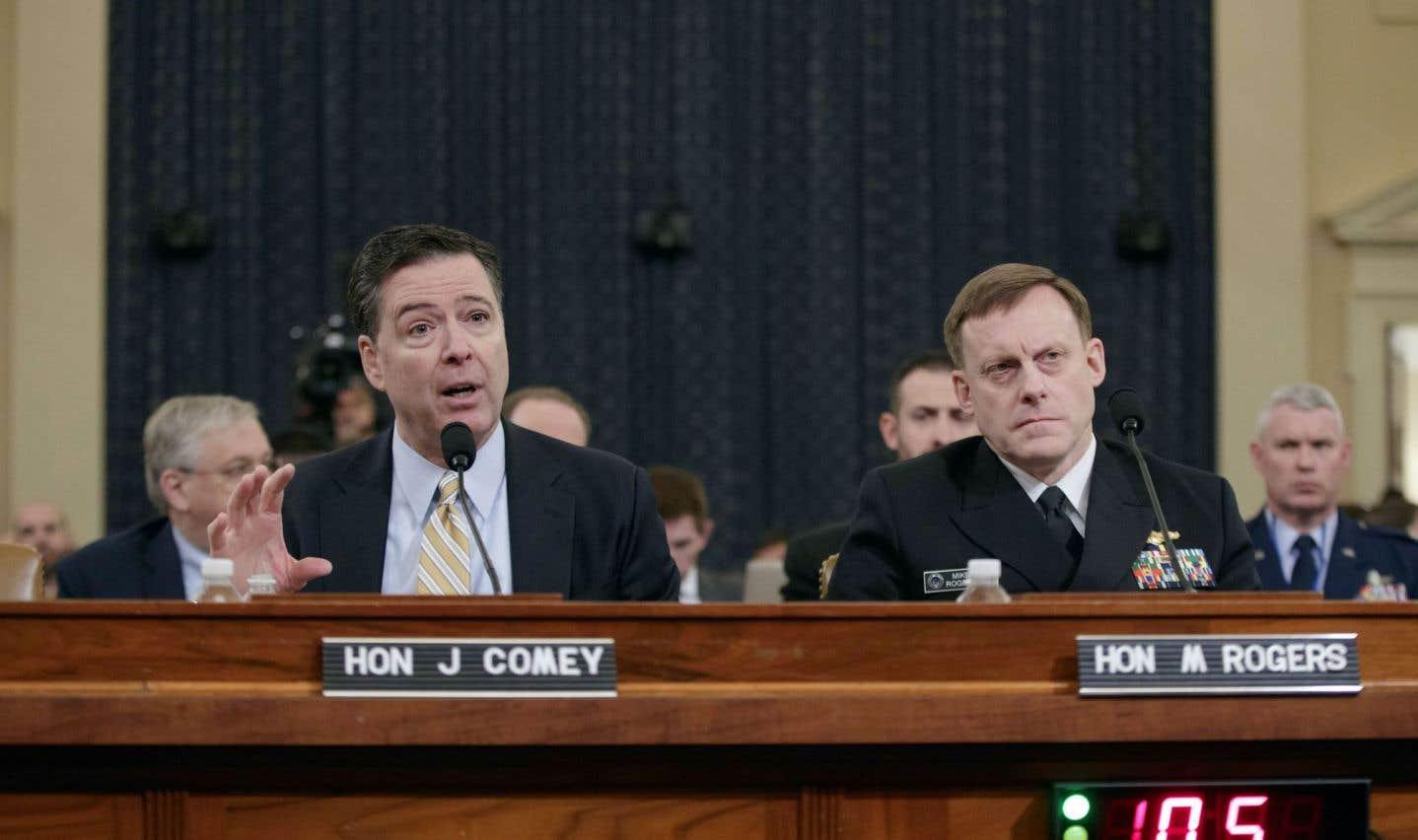 Les directeurs du FBI, James Comey, et de la NSA, Michael Rogers, ont témoigné lundi devant la commission des renseignements au Capitole.