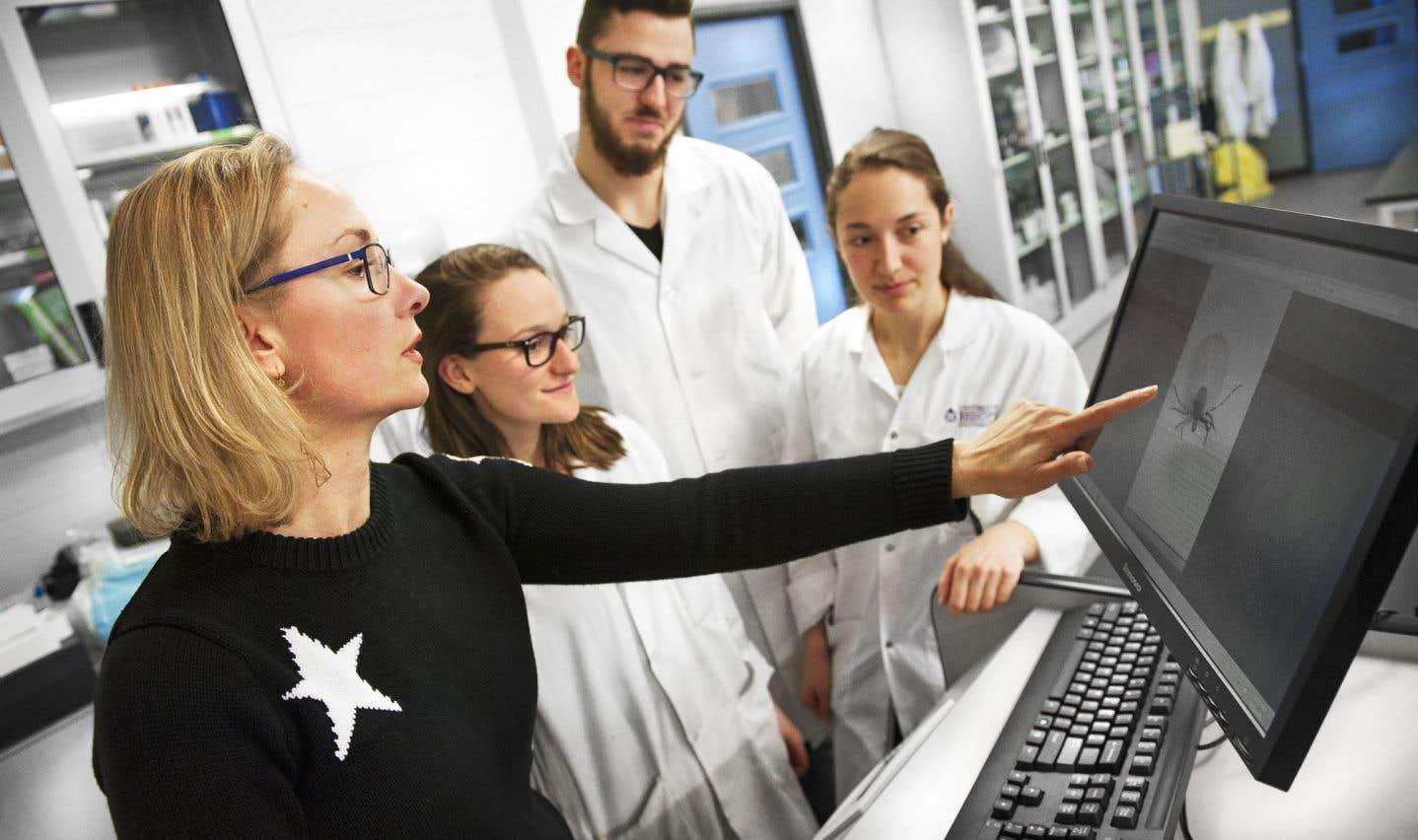 Jade Savage, professeure titulaire au Département des sciences biologiques de l'Université Bishop's, entourée d'étudiants lors d'une séance en laboratoire