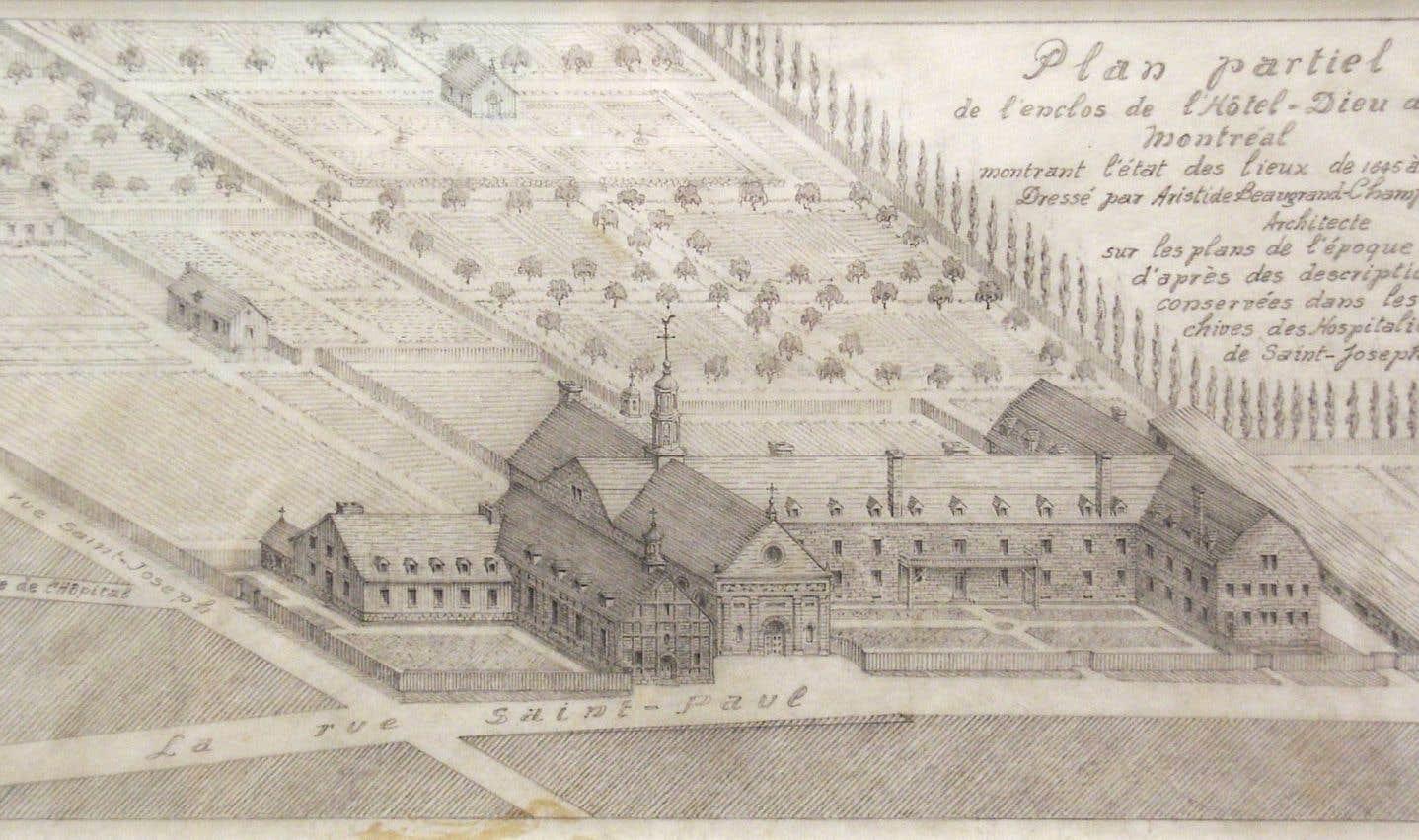 Plan du premier Hôtel-Dieu, ancêtre de l'hôpital universitaire actuel, créé par Jeanne mance