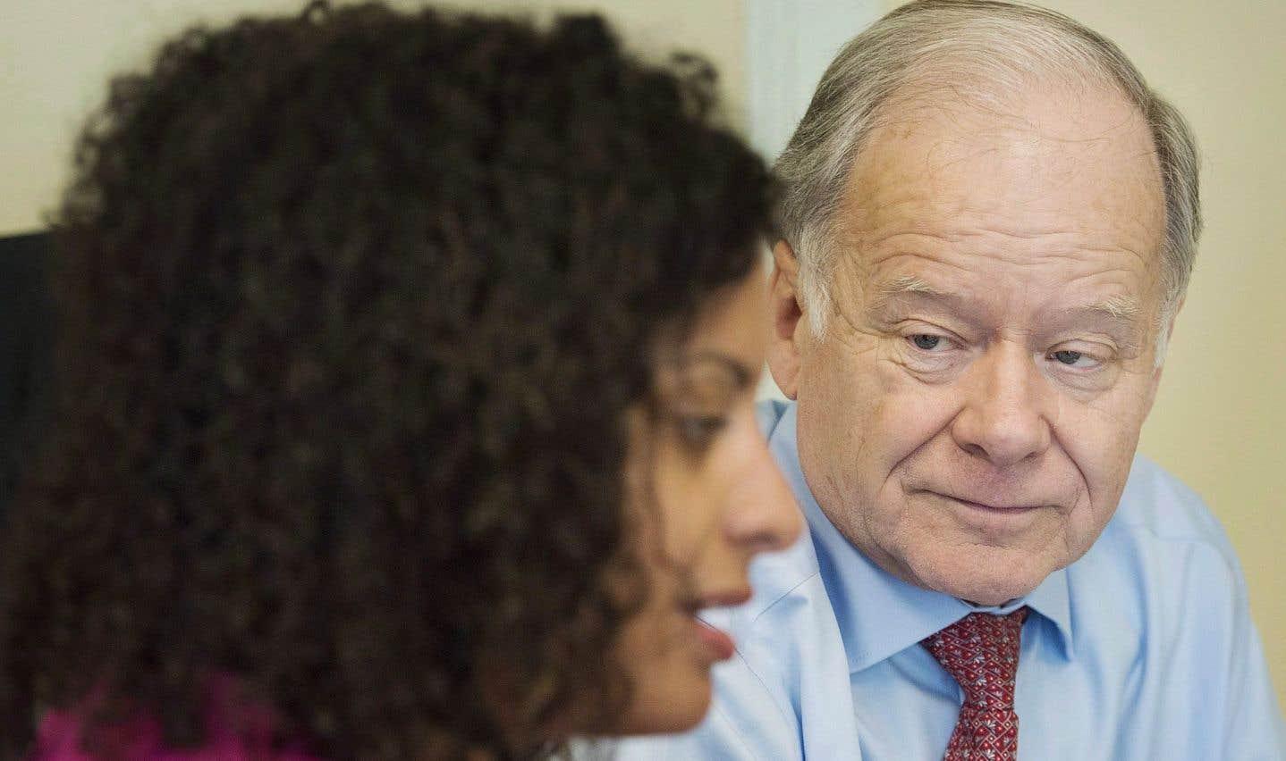 La ministre de l'Économie, de la Science et de l'Innovation, Dominique Anglade, et le négociateur en chef pour le Québec dans la renégociation de l'ALENA, Raymond Bachand