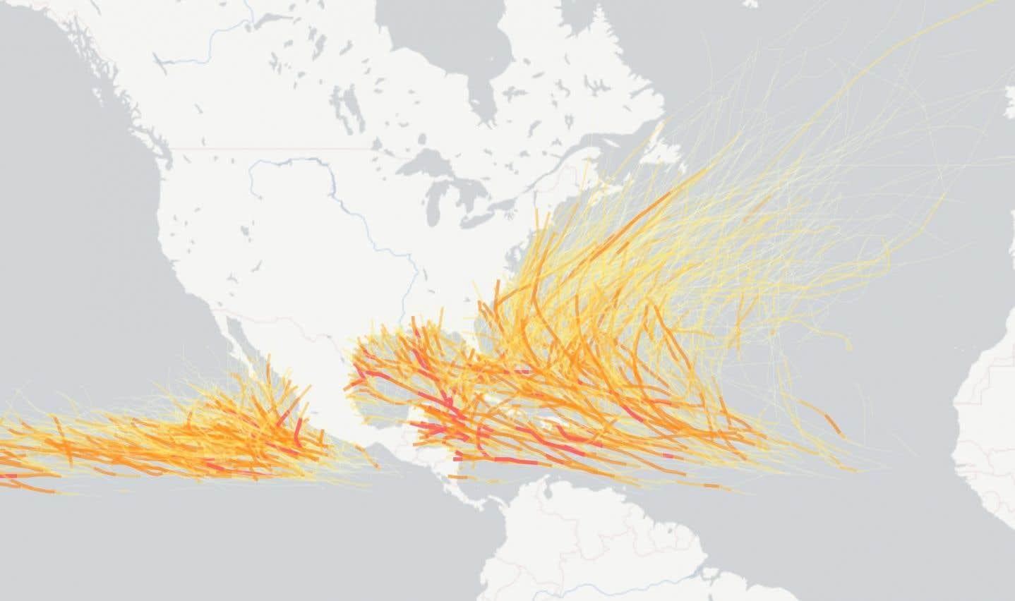 La carte de tous les ouragans depuis 100 ans