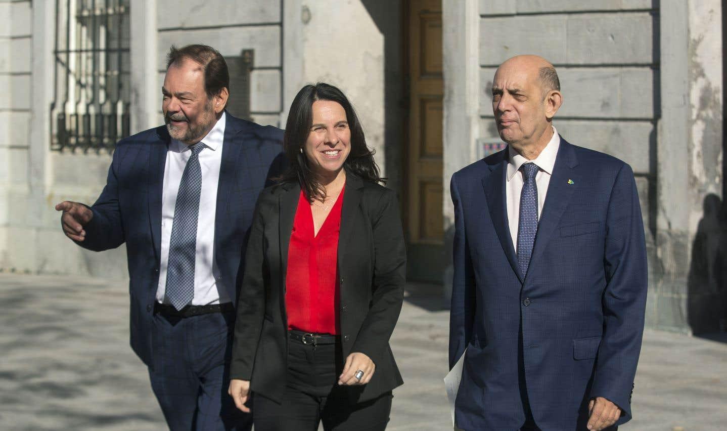 La chef de Projet Montréal, Valérie Plante, en compagnie de Jean Fortier et Martin Rotrand