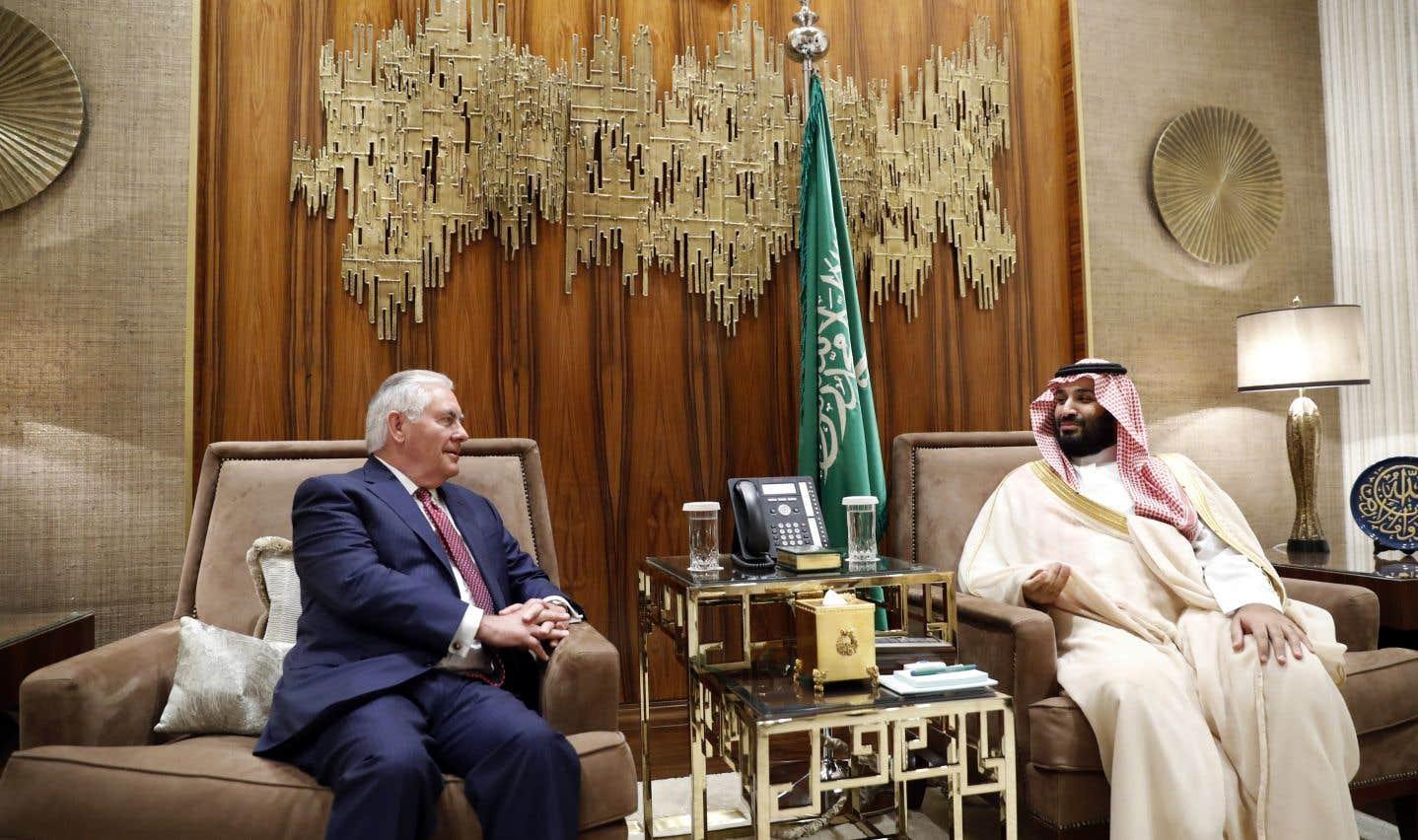 Rex Tillerson a rencontré le prince saoudien Mohammed bin Salman, à Riyad, dimanche.