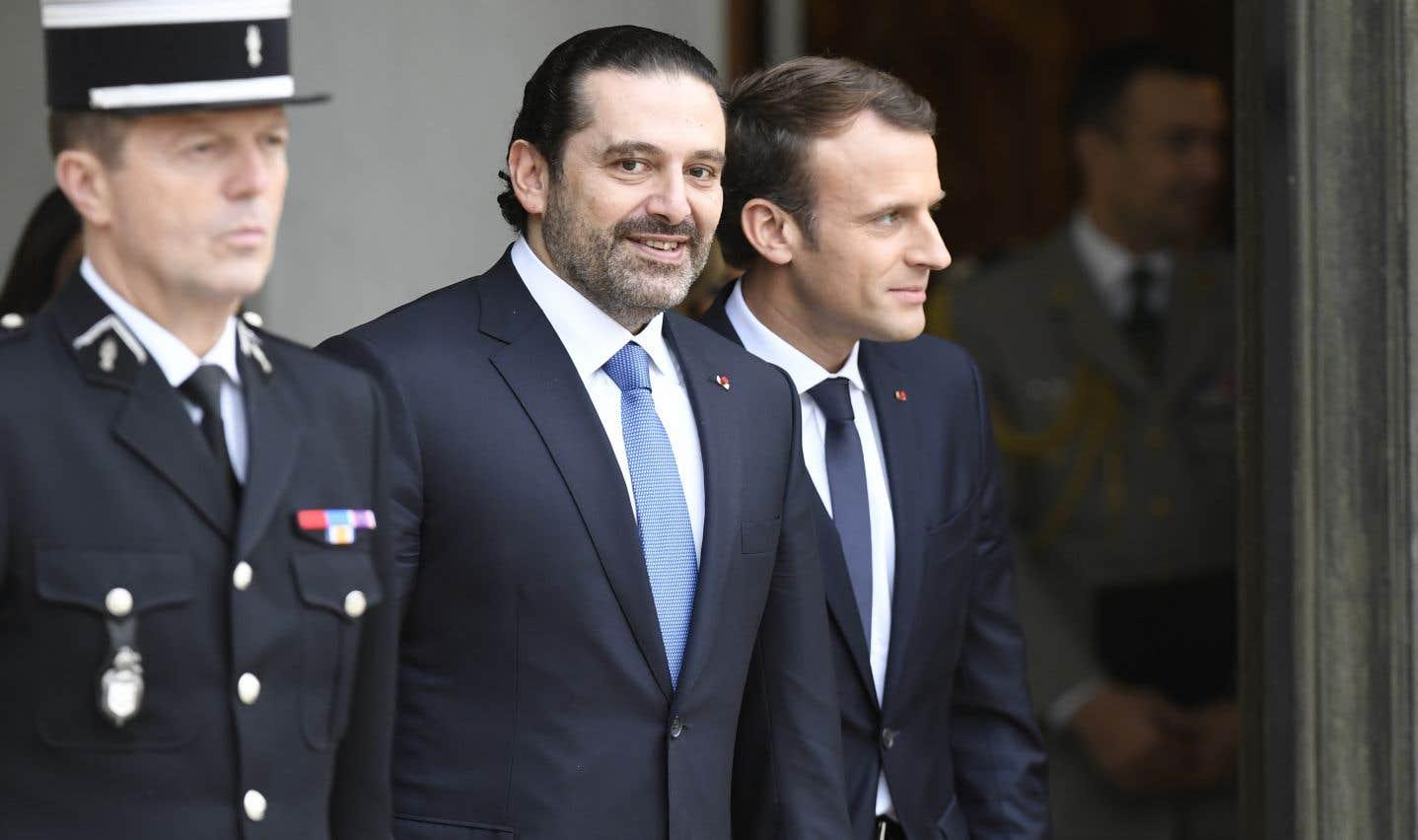 L'ex-premier ministre libanais (à gauche) en compagnie d'Emmanuel Macron lors de son passage au Palais de l'Élysée, le 18 novembre dernier.
