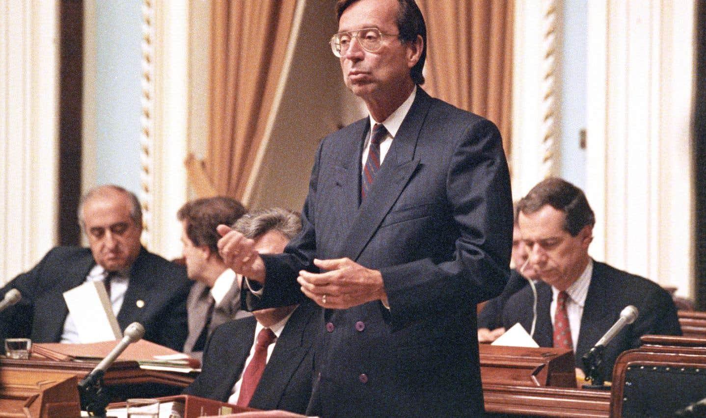 Le premier ministre Robert Bourassa à l'Assemblée nationale en juin 1990