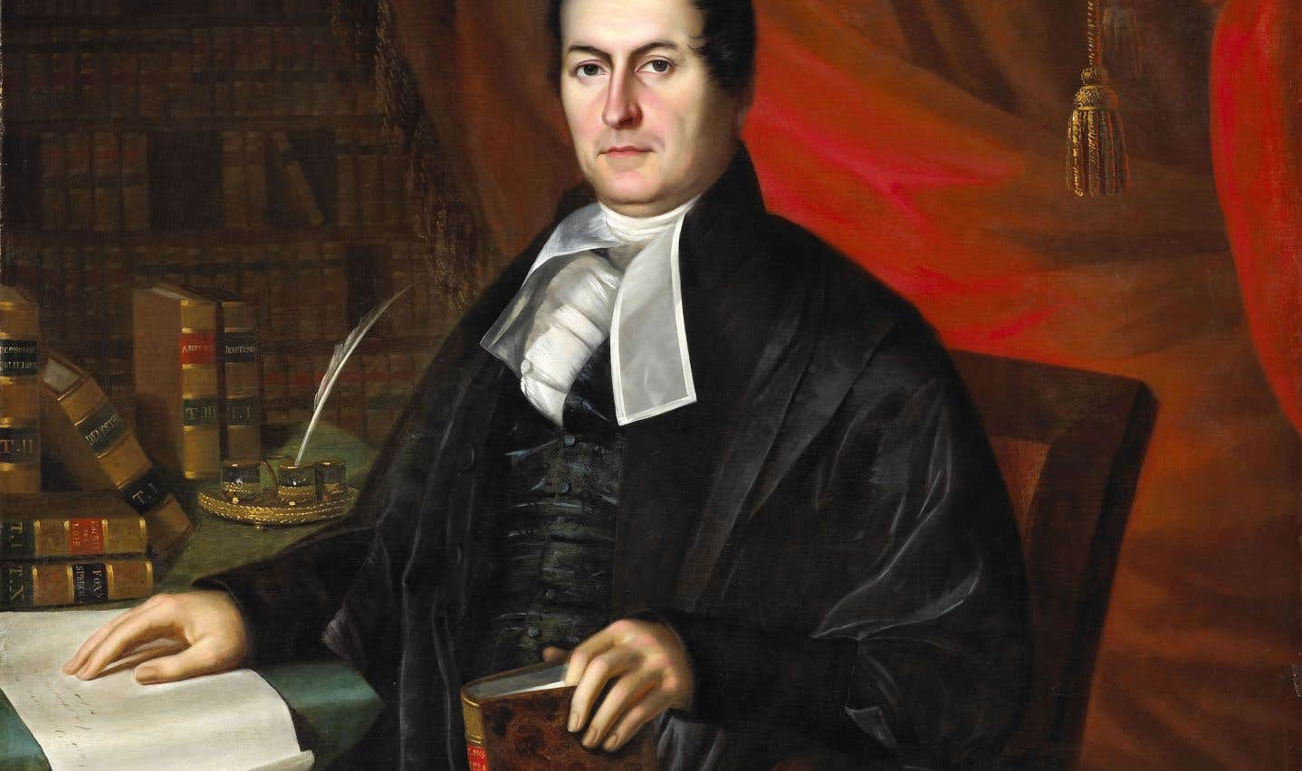 Louis-Joseph Papineau a été immortalisé à l'huile devant sa bibliothèque en 1834.