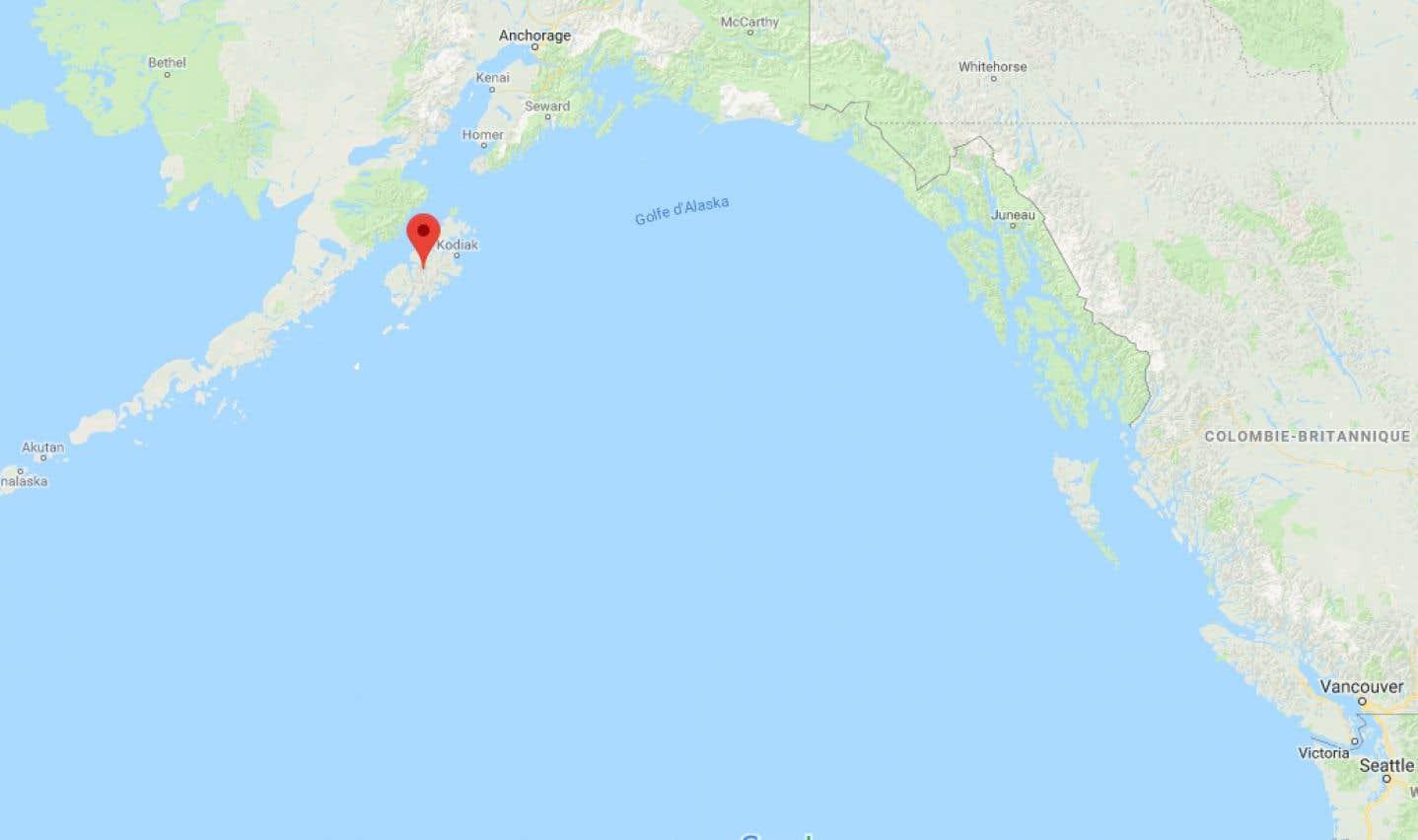 Le tremblement de terre s'est produit au large de l'île Kodiak, en Alaska.