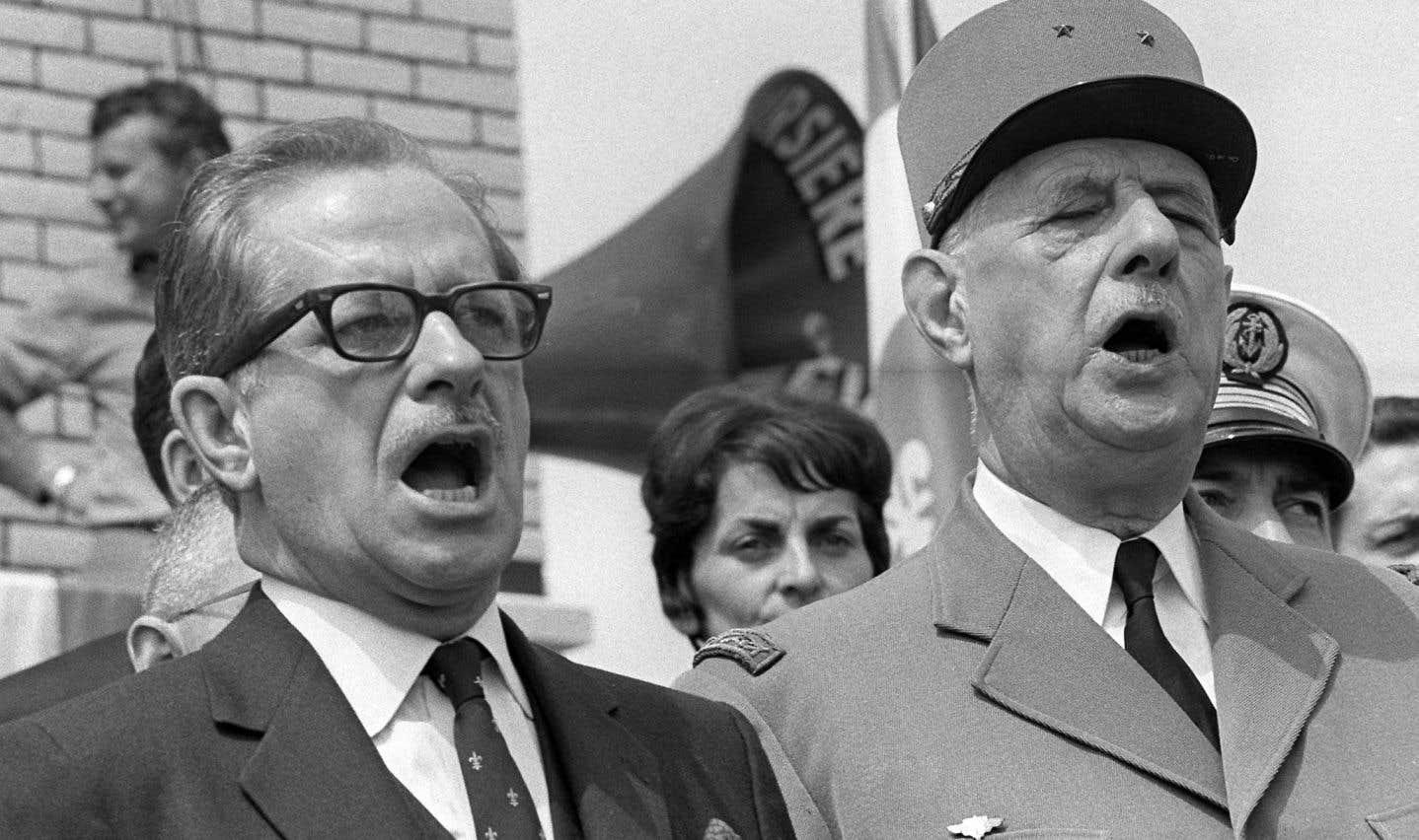Le premier ministre du Québec Daniel Johnson et le général Charles de Gaulle en juillet 1967