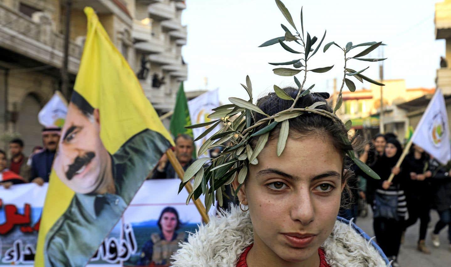Scène d'une manifestation de mardi, à Jandairis, pour dénoncer l'offensive Rameau d'olivier