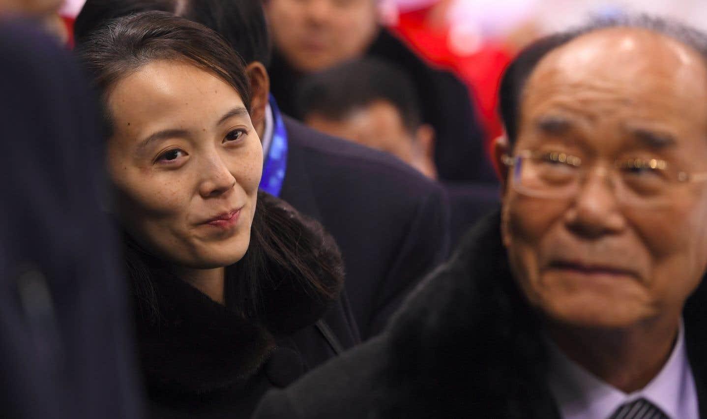 Le président de l'Assemblée populaire suprême, Kim Yong Nam (à droite) et la sœur de Kim Jong-un, Kim Yo Jong, le 10 février dernier.