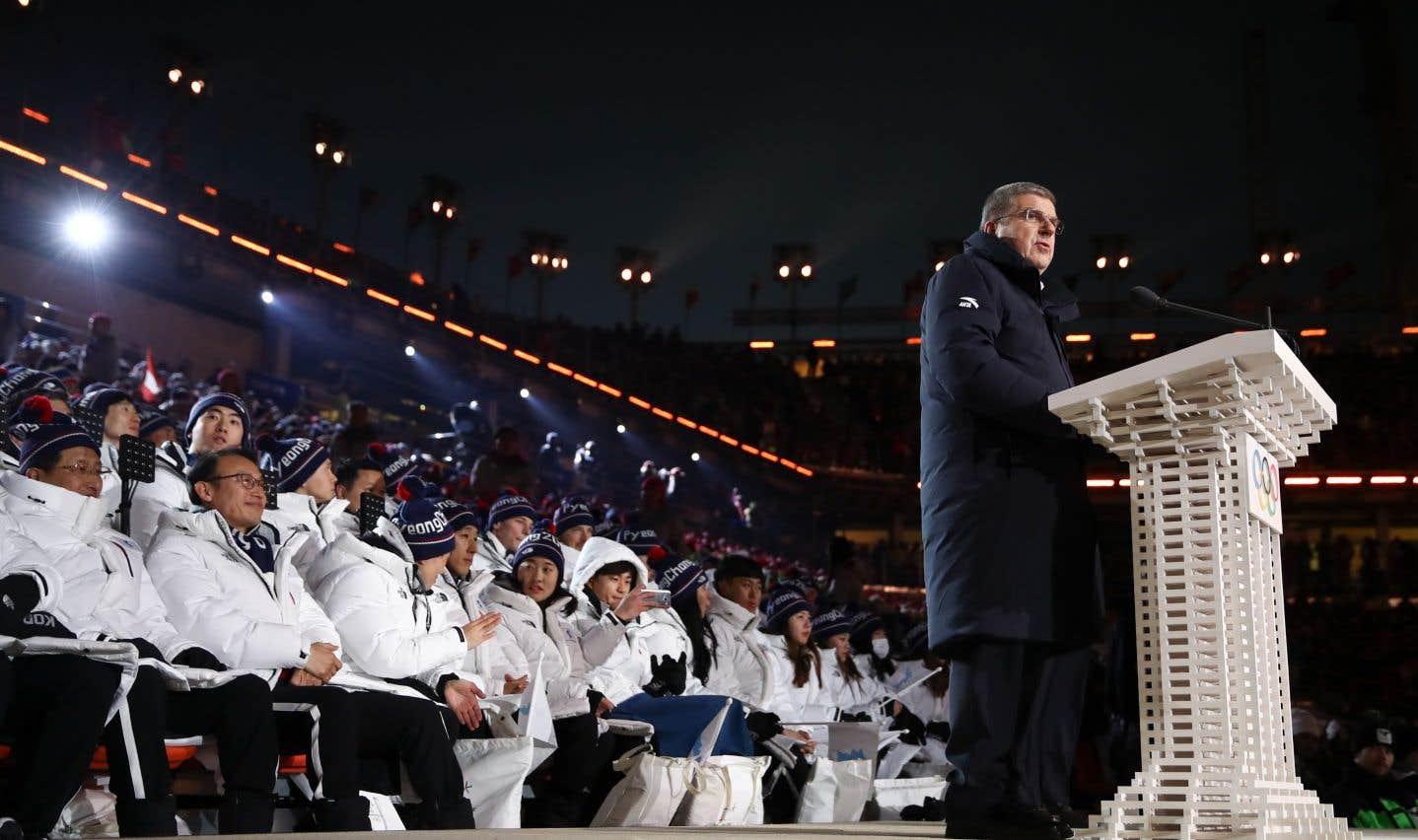 Le président du Comité olympique international, Thomas Bach, lors de la cérémonie d'ouverture des Jeux de Pyeongchang