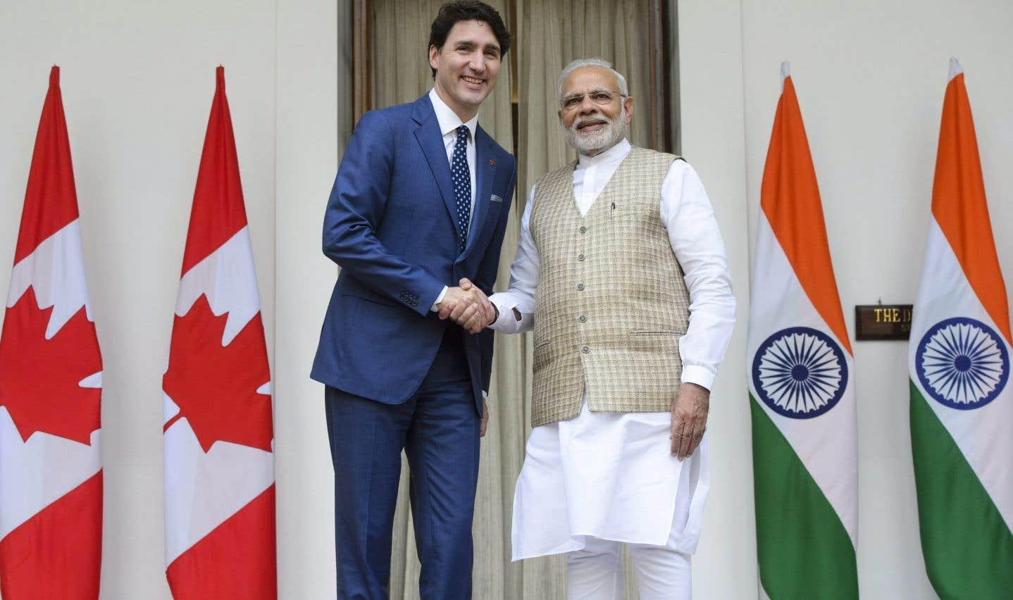 Le premier ministre indien Narendra Modi ait chaleureusement accueilli son homologue Justin Trudeau.