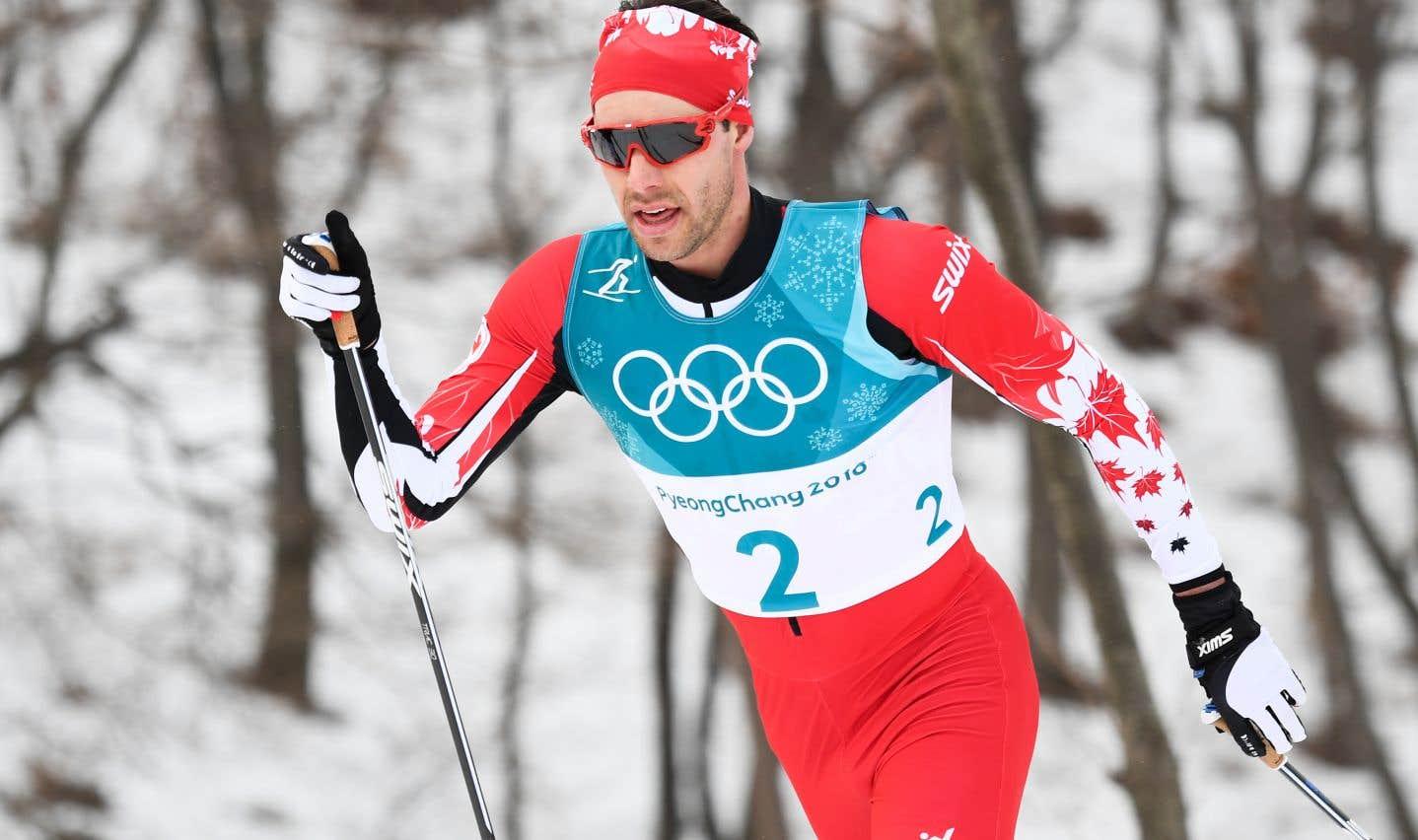 Alex Harvey lors de l'épreuve des 50 kilomètres en ski de fond, aux Jeux de Pyeongchang.