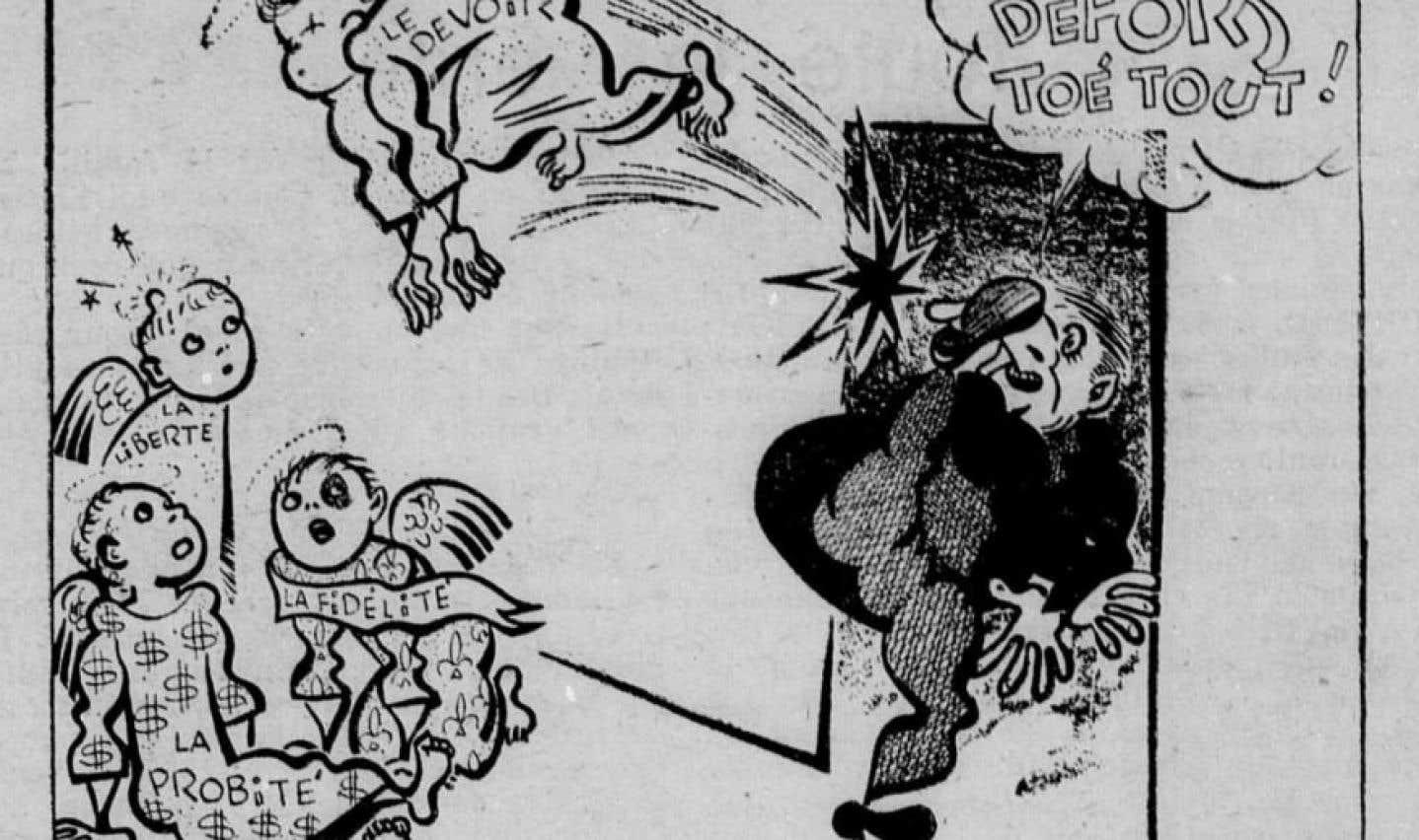 Caricature publiée dans Le Devoir, le 4 juillet 1958. Empêtré dans le scandale du gaz naturel, le premier ministre Maurice Duplessis expulse de son bureau le journaliste du Devoir Guy Lamarche. Pas de «dictée» pour lui.