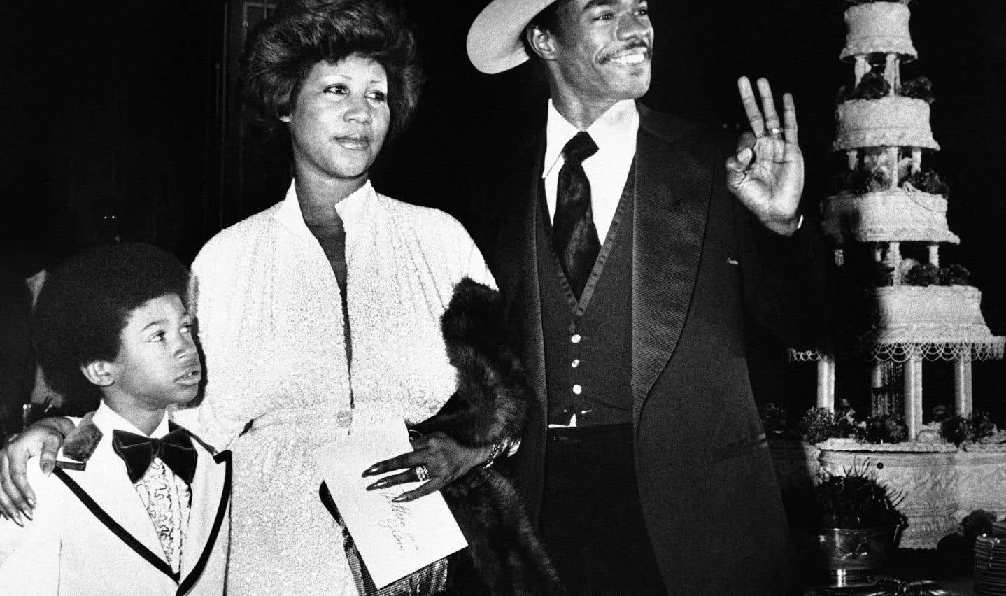 Aretha Franklin, son mari Glen Turman et leur fils Kecalf en 1978