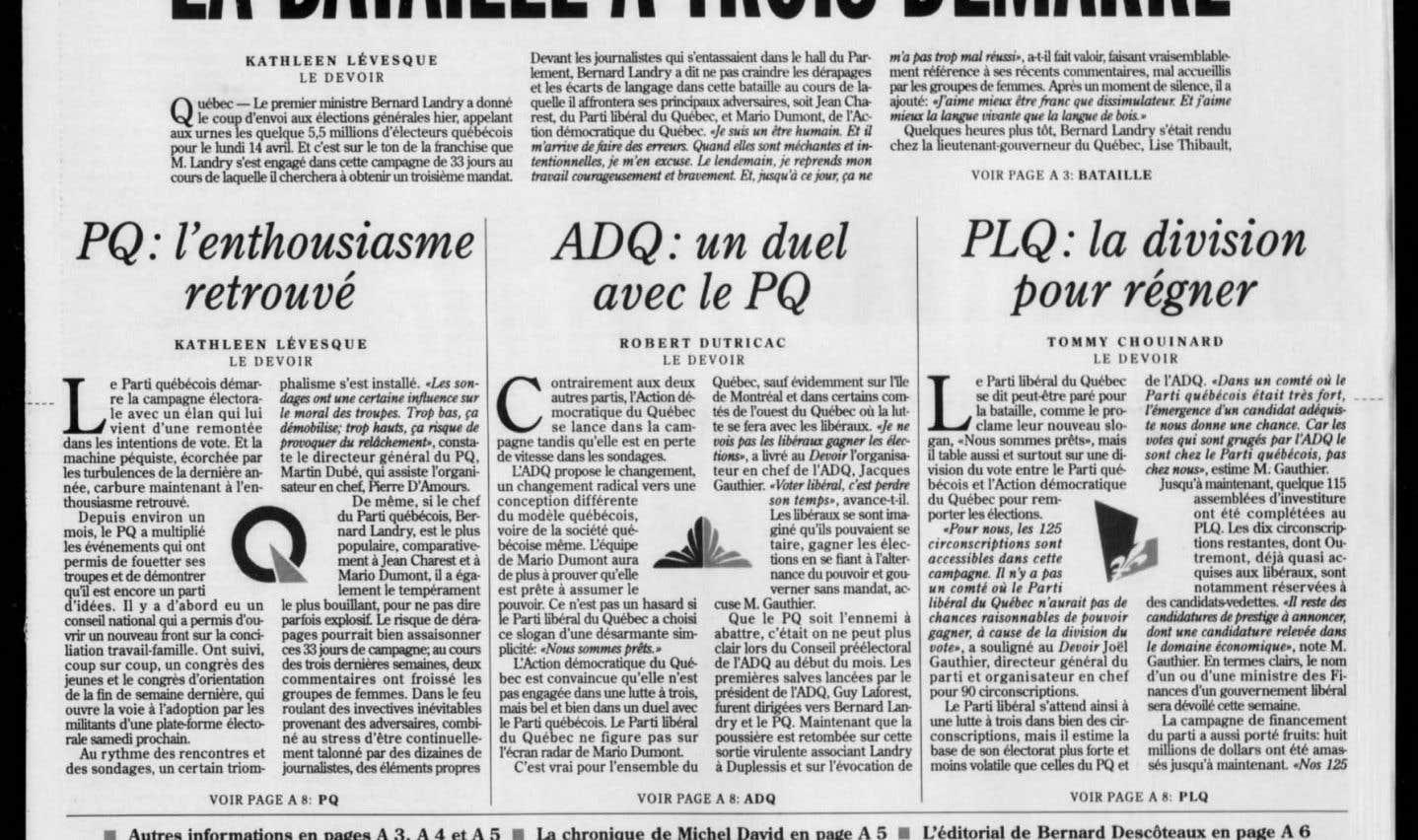 La une du «Devoir» du 13 mars 2003