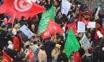 Une manifestation pro-Ennahda dans les rues de Tunis le 9 février dernier, lendemain des funérailles de l'opposantChokri Belaïd