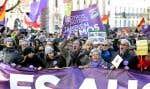 Des manifestants ont pris part à la «marche pour le changement», un grand rassemblement organisé par Podemos, samedi à Madrid.