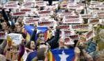Des manifestants séparatistes se sont donné rendez-vous mercredi devant le palais de la Généralité, siège de l'exécutif catalan destitué.