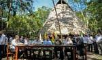 De gauche à droite: le ministre des Affaires étrangères du Brésil Ernesto Araujo, le président de la Bolivie Evo Morales, le président du Pérou Martin Vizcarra, le président de la Colombie Ivan Duque, le président de l'Équateur Lenin Moreno, le vice-président du Suriname Michael Adhin et le ministre des Ressources naturelles du Guyana Raphael Trotman
