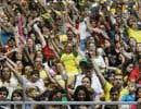 Des spectateurs enthousiastesau cours d'un match de volleyball des Jeux paralympiques