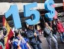 La manifestation s'est déplacée de la station de métro Lionel-Groulx au parc Jarry, dimanche.